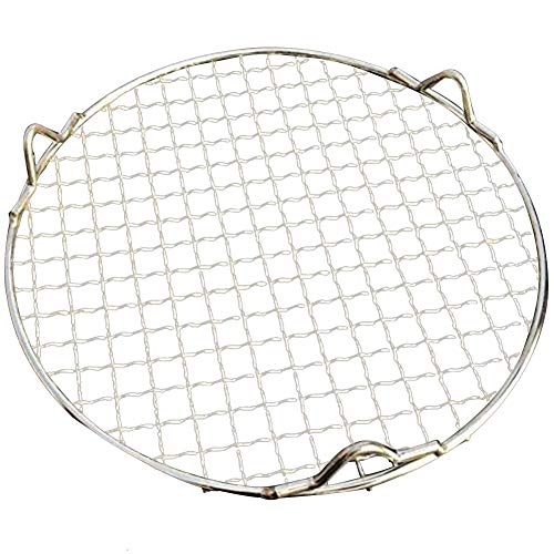 Loghot Multi-Purpose Round Stainless Steel Cross Wire Round Steaming Cooling Barbecue Racks/Carbon Baking Net/Grills/Pan Grate with Legs (Diameter-11.6 Inches)