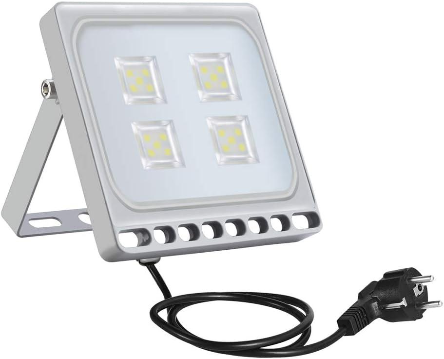 20w Foco Proyector LED Ultra Plano para exterior, Floodlight con SMD2835 LED Bombilla de luz Fría, IP67 Impermeable, Enchufe Contenido, 1700lm