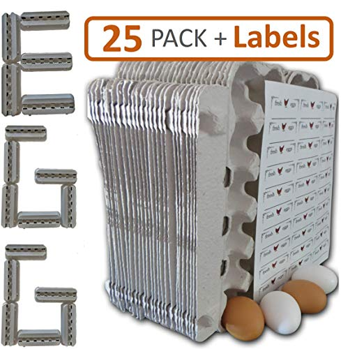 Egg Cartons - 25 Bulk Pack - 30 Bonus Quality Blank Labels of multi temp vinyl material, 100% recycled pulp biodegradable material, holds one dozen eggs, multi-use, sturdy, bulk cheap egg carton (Egg Cartons Wholesale)