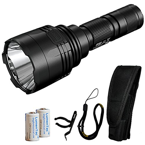 Nitecore P30 1000 Lumen 676 Yard Long Throw LED Flashlight with 2X LumenTac CR123A Batteries