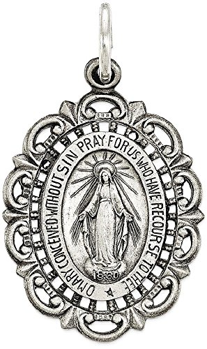 Miraculous Medal Charm (ICE CARATS 925 Sterling Silver Miraculous Medal Pendant Charm Necklace Religious Fine Jewelry Gift Set For Women Heart)