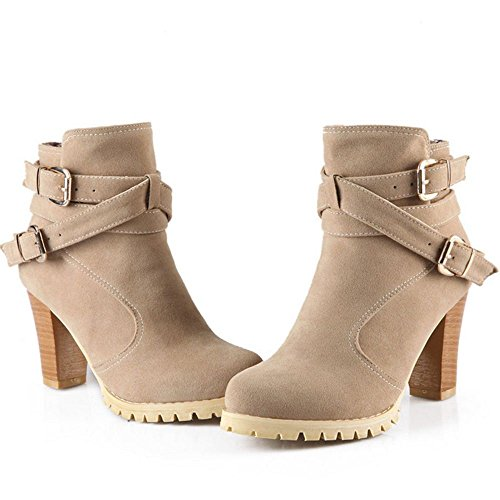 COOLCEPT Women's Block High Heels Ankle High Boots Shoes Beige pMsq5H9