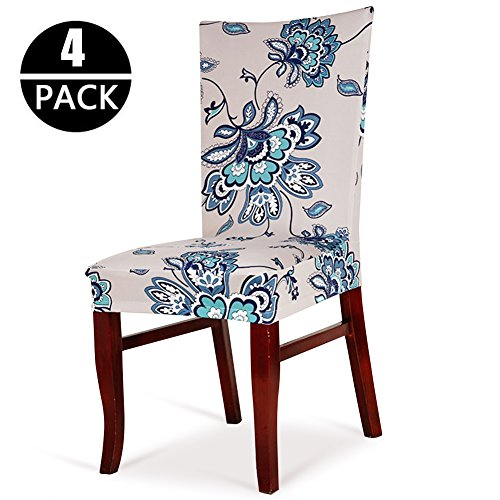 Bed Room Dining Set (CosyVie Super Fit Universal Stretch Chair Covers for Dining Chairs Removable Washable Slipcovers for Living Room Chairs Set of 4 Pcs (New Printing Style C))