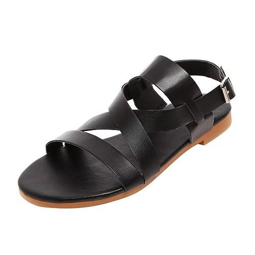 b8b33cd1f0d Summer Gladiator Flat Sandals Women Ladies Strappy Open Peep Toe Platform  Lace Up Slingback Flatform Comfy