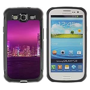 CASSO Cases / Samsung Galaxy S3 I9300 / PURPLE GLOW CITY SKY / Robusto Prueba de choques Caso Billetera cubierta Shell Armor Funda Case Cover Slim Armor