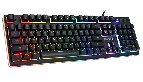 NPET RGB Backlit Floating Gaming Keyboard, P010 Wired Mechanical-Similar Typing Gaming Experience Professional Membrane Keyboard Compatible PC/Laptop/Desktop/Computer
