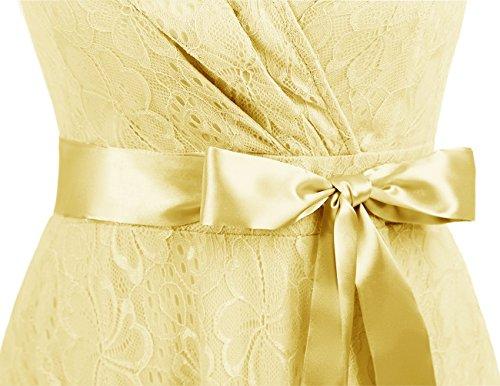 Dresstells Courte Robes De Demoiselle D'honneur Dentelle Robe Froncée Cocktail Col V Ceinture Jaune