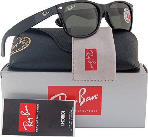 Ray-Ban RB2132 Large New Wayfarer Polarized Sunglasses Shiny Black w/Crystal Green (901/58) 2132 90158 55mm Authentic ()