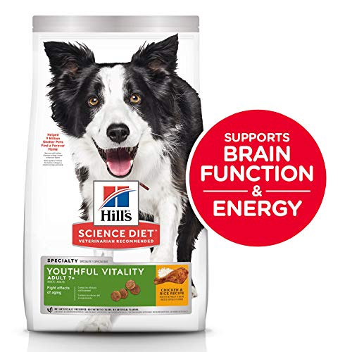 Hill's Science Diet Dry Dog Food, Adult 7+, Youthful Vitality, Chicken & Rice Recipe