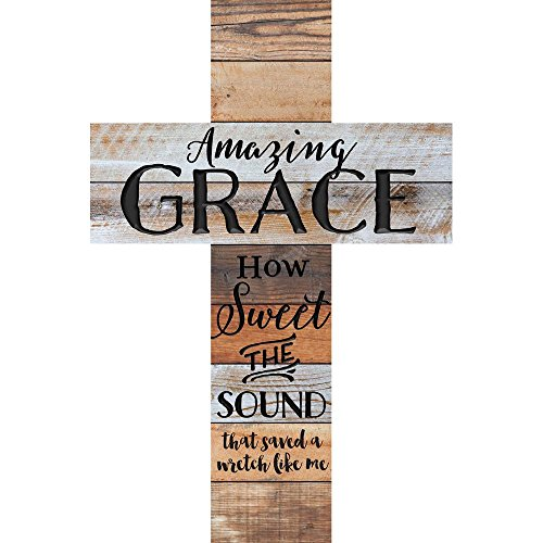 Amazing Grace Tri- Colored Distressed 36 x 24 Wood Wall Art Plaque Cross