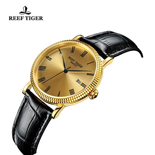 Reef Tiger Designer Dress Watches for Men Yellow Gold Case Leather Strap Date Automatic Watch RGA163 by REEF TIGER (Image #4)