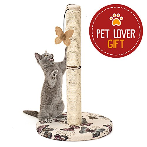 51StQI d4lL - Cat Scratching Post with Hanging Butterfly Toy