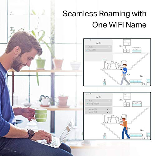 TP-Link Deco Whole Home Mesh WiFi System -Up to 5,500 sq. ft. Coverage and 100+ Devices,WiFi Router/WiFi Extender Replacement, Support Parental Controls/Anitivirus, Seamless Roaming(Deco M5)