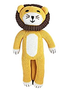 """""""Happy Lion"""" Knit Stuffed Animal: Handmade- 100% Cotton, Eco-Friendly and Non Toxic Dyes: Kids and Baby Toy, Natural and Vegan Stuffed Toy"""