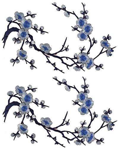 Emmas Two Asian Cherry Blossom Sakura Flower Iron on Embroidered Appliques Patch Japanese Chinese (Blue)