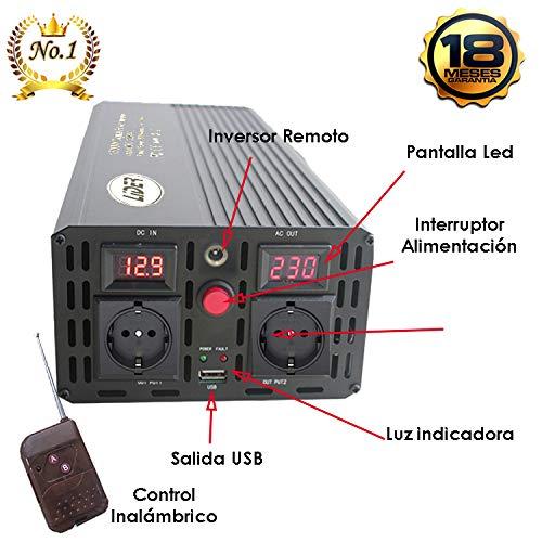Transformador de DC 12V//24V a AC 220V LIDER.- 1500W,Pico3000W Inversor de Corriente Onda sinusoidad modificada Pantalla LCD y contror Remoto inal/ámbrico con Puerto USB