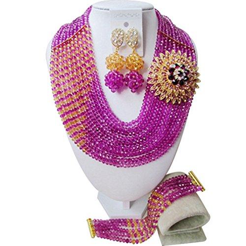 laanc Niñas boda nigeriano cuentas africanos joyería conjuntos 10filas rosa y oro champán cristal collar