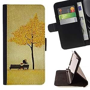 Momo Phone Case / Flip Funda de Cuero Case Cover - Las hojas de oro de Brown del amor de Pareja - LG G4