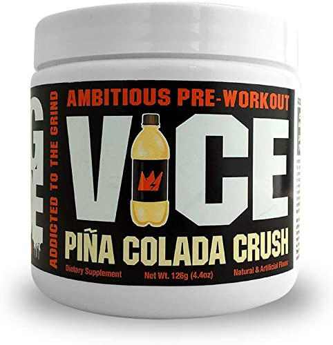 GCode VICE Ambitious Pre-Workout- Clean Energy, Intense Pumps, Power Endurance – 15 Servings Pina Colada Crush