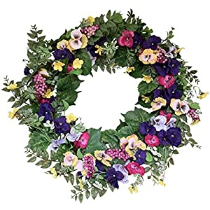 The Wreath Depot Chatham Pansy Spring Door Wreath 24 Inch, Beautiful White Gift Box Included 2