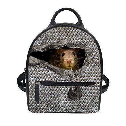 LedBack Small Leather Backpack Purses and Handbags Teens Girls Animal Rat Print