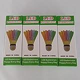 BLUBOON(TM) Badminton Set LED Shuttlecock Feather Super Bouncy Light Badminton Birdies