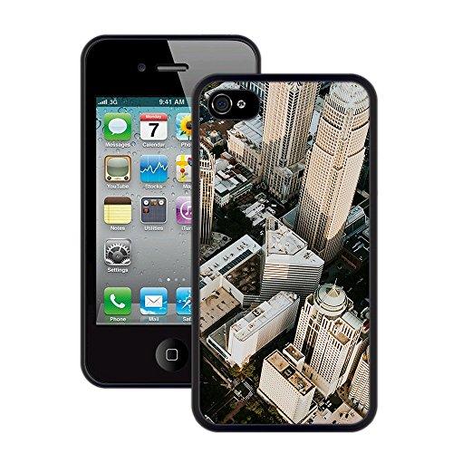 Stadt-Wolkenkratzer | Handgefertigt | iPhone 4 4s | Schwarze Hülle
