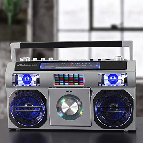 Studebaker SB2145S 80's Retro Street Boombox with FM Radio, CD Player, LED EQ, 10 Watts RMS and AC/DC in Silver by Studebaker (Image #2)
