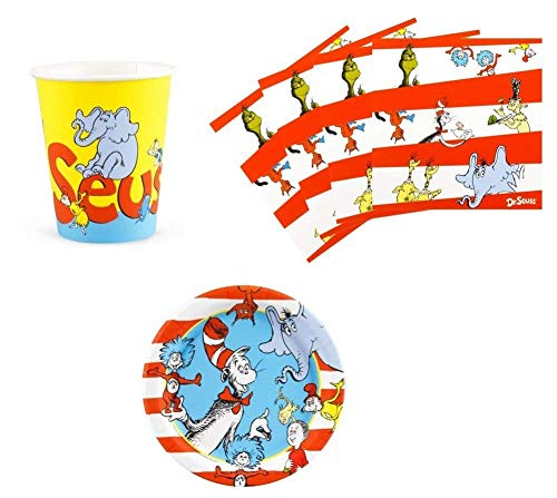 Dr Seuss Cat in The Hat Birthday Party Supplies Set Plates Napkins Cups Kit for 16 -
