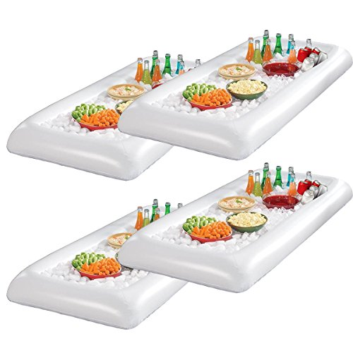 Infltable Buffet Serving & Salad Bar Ice Buckets Food Cooler Inflatable Beer Drink Tray,Food Drink Holder BBQ Picnic Pool,with Drain Plug (4 Pack) by EVINIS