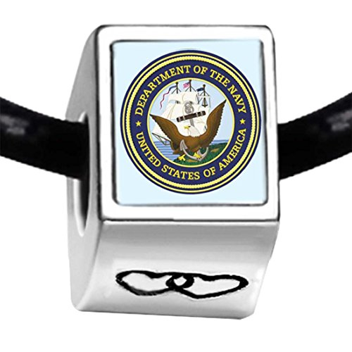 GiftJewelryShop Silver Plated Character Navy Seal Photo Double Heart Charm Beads Bracelets