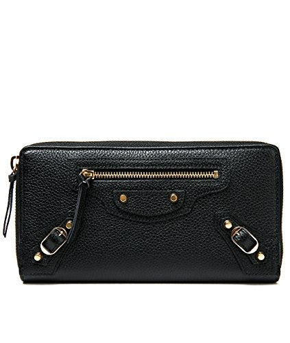 Wiberlux Balenciaga Women's Buckle Detailed Zip-Around Real Leather Wallet