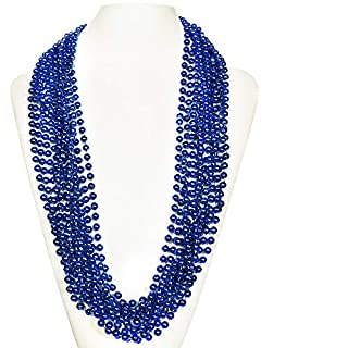 """(72 Pack) 33"""" Inch Round Metallic Mardi Gras Party Necklace Beads (Blue)"""