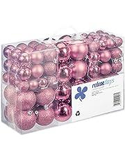 Relaxdays Kerstballen, 100-delige set, kerstdecoratie, mat, glanzend, glinsterend, kerstballen met een diameter van 3, 4 en 6 cm, roze
