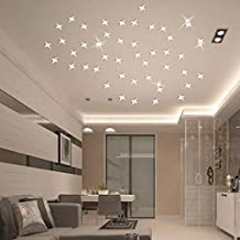 Mikey Store 50pcs 3D Stars Sky Wall Decal Acrylic Modern Mirror Art DIY Raindrop Removable Home Living Room Bedroom Decor (Silver)