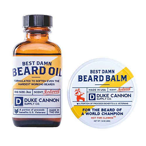Duke Cannon Beard Bundle: Best Beard Oil, 3oz + Beard Balm, 1.6oz / Made with Natural and Organic Ingredients