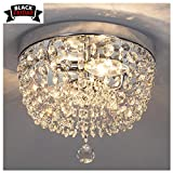 GLANZHAUS Fashion Designed Mini Style 9.84' Chrome Finish Crystal Ceiling Light, 2-Light Crystal Chandelier for Living Room Dining Room Bedroom