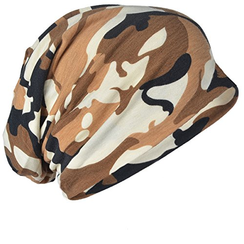 FORBUSITE Mens Solid Thin Slouchy Summer Beanie Winter Cap Hat (Camo-Khaki) ()