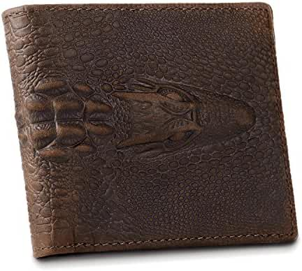 Kattee Crocodile Embossed Crazy Horse Leather Purse Short Bifold Wallet