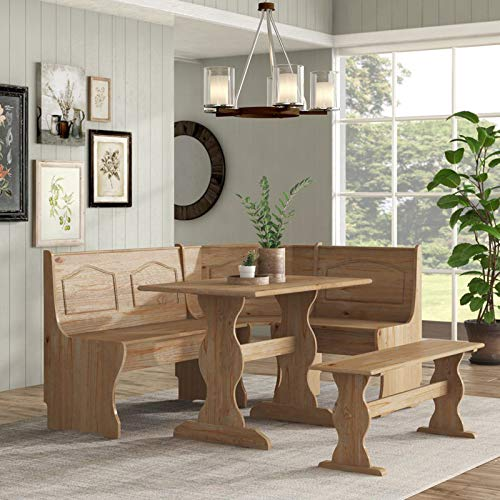 Simple Interior 3 Piece Breakfast Nook Dining Set - Solid Wood Table and 2 Benches - Rustic Natural Brown Finish
