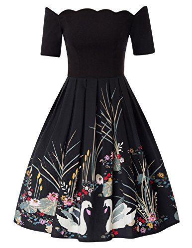 PAUL JONES Women's 1950s Audrey Hepburn Black Swing Dress with Swan Pattern