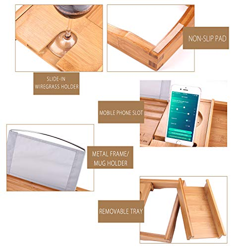 SUNFICON Bamboo Bathtub Caddy Tray with Extending Sides Mug/Wineglass/Smartphone Holder, Metal Frame Book/Pad/Tablet Holder with Waterproof Cloth Detachable Sliding Tray Non-Slip Rubber Base by SUNFICON (Image #8)
