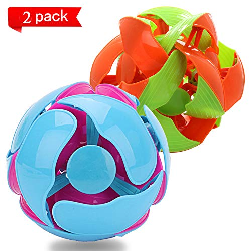 Switch Pitch Ball, Kingtree Color Changing Ball for Teens Throwing Discoloration Balls Magic Telescopic Toy for Kids Adults, Interactive 3D Colors Flipping Toy, Pack of 2 (Large Size)