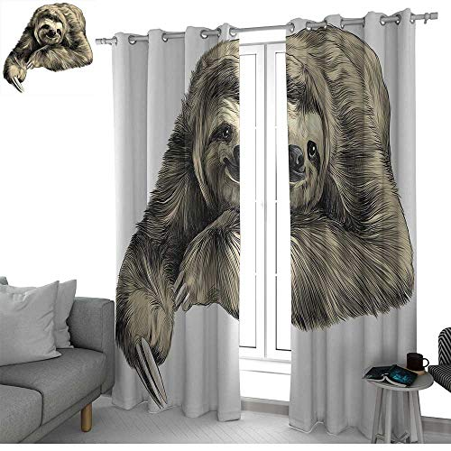 (NUOMANAN Curtains 84 inch Length Sloth,Sweetly Smiling Jungle Animals Lying Down with Crossed Legs Tropic Fauna Sketch,Ivory Black,Modern Farmhouse Country Curtains)