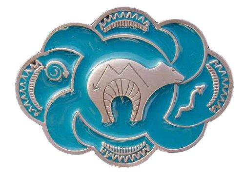 Zuni Bear Fetish Colored Novelty Belt Buckle