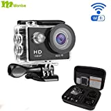 Monba ME20(Black Color) 1080P Sports Action Camera waterproof wifi camcorder 12MP 170 Ultra Wide Angle- 2x900mAh Batteries portable package Accessory Set