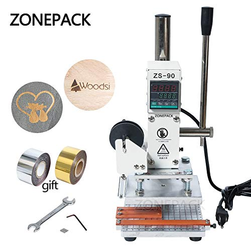Hot Foil Stamping Machines - ZONEPACK 1013cm Digital Embossing Machine Hot Foil Stamping Machine Manual Tipper Stamper for PVC Leather Pu and Paper Stamping with Paper Holder and Scale