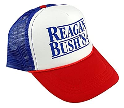 Funny Guy Mugs Reagan Bush '84 Trucker Hat - Adult - Unisex - Adjustable