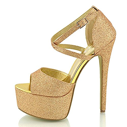 (Onlymaker Womens Ankle Strap Platform High Heels Peep Toe Stiletto Sandal Party Dress Heel Pump Gold Glitter 6 M US)