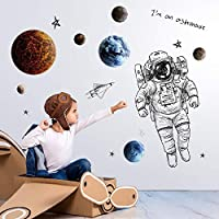 ioeomono Space Wall Sticker Galaxy Astronaut Galaxy Decals Kids Adventure for Home Bedroom Wall Decoration